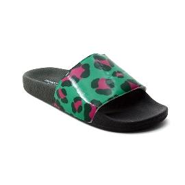 Pool Slider 180 - Black + Green/Fuchsia Leopard