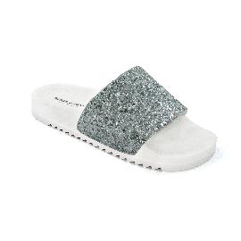 Ciabatta in plastica 190 - Bianco + Glitter Argento