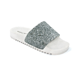 Pool Slider 190 - White + Silver Glitter
