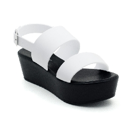 Plastic Sandal Wedge Grace Fascia - White/Black