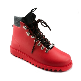 Plastic boots Victor - Red + Grey Wool-Black-BlackOrange