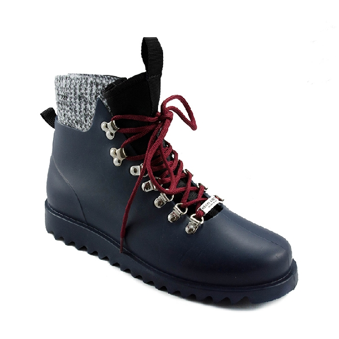 Plastic boots Victor - Navy 28 + Black/White Wool-Black-Bordeaux