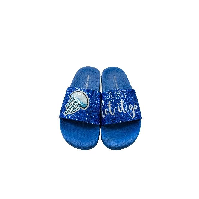 Ciabatta in plastica 180 - Glitter Blu 'Just Let It Go'