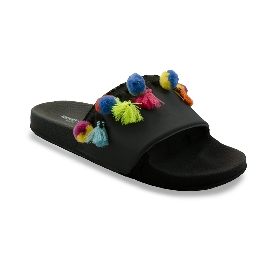 Pool slider 180 - Black + Pom Poms