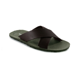 Plastic Slipper Cross Green 10 + Brown 29