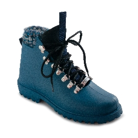 Plastic boots Victor - Petrol + White/Blue Wool + Blue Loop + Black Lace
