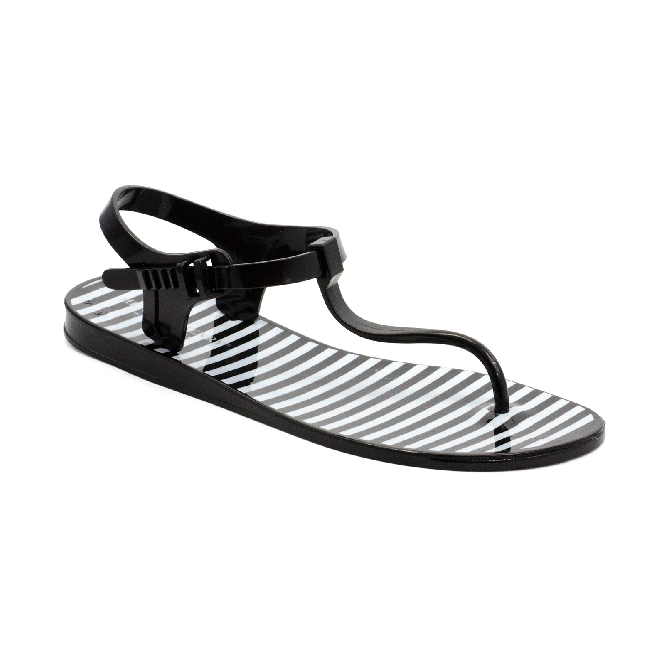b213bb7d16fc Plastic Sandal Athena Black + White stripes - Henry   Henry